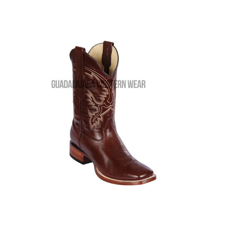Los Altos Brown Pull Up Wide Square Toe Cowboy Boots