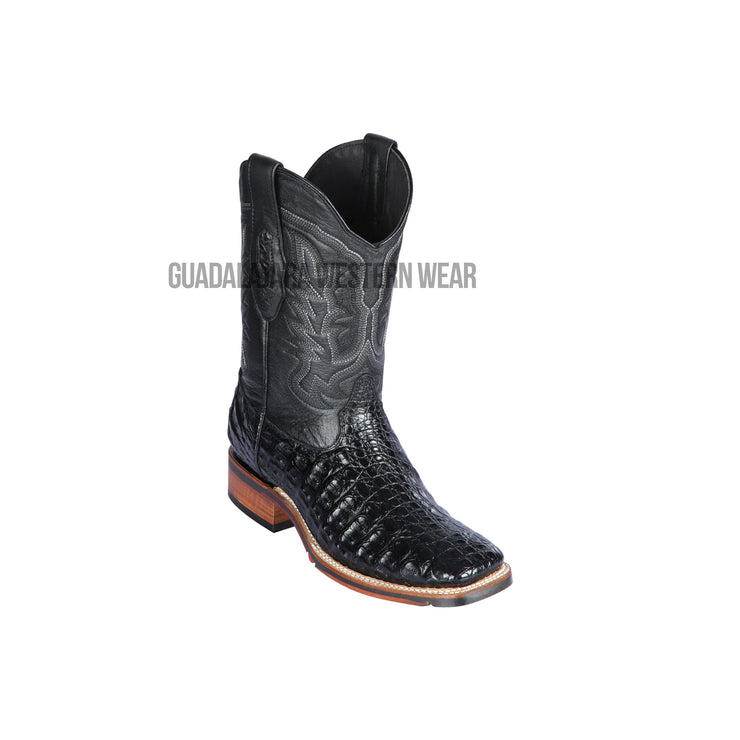 Los Altos Black Caiman Flank Wide Square Toe Cowboy Boots