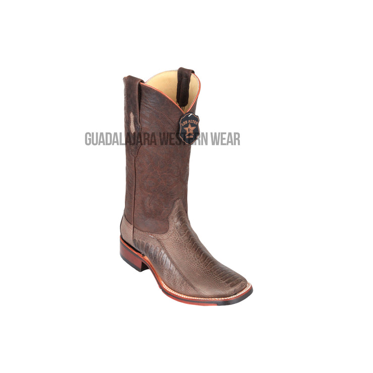 Los Altos Greasy Finish Brown Ostrich Leg Wide Square Toe Cowboy Boots