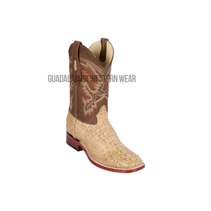 Los Altos Honey Greasy Finish Caiman Hornback Wide Square Toe Cowboy Boots