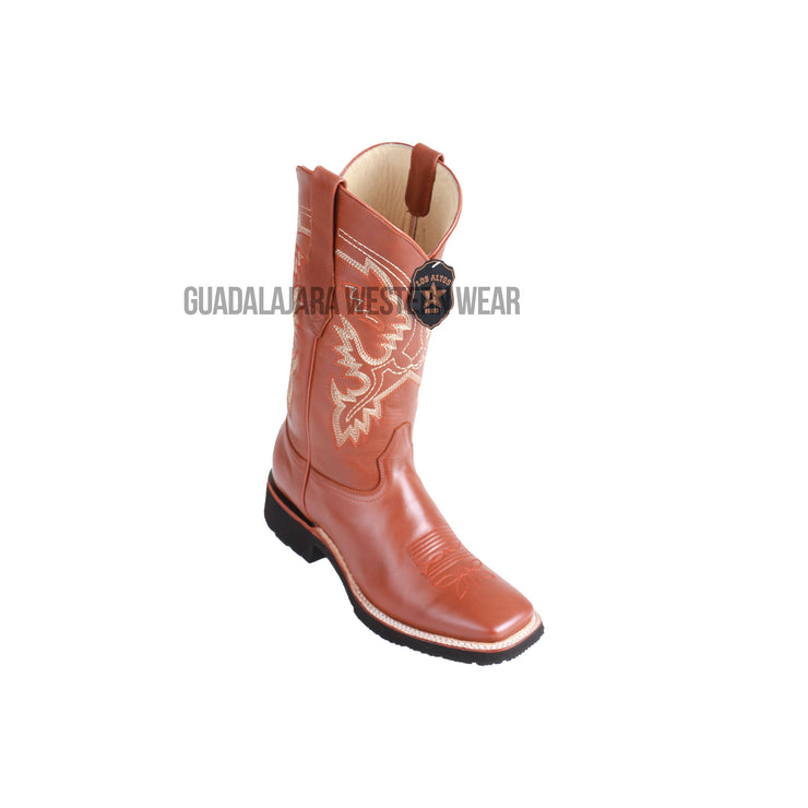 Los Altos Honey Pull Up Wide Square Toe Very Light EVA Sole Cowboy Boots