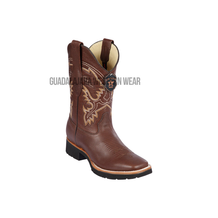 Los Altos Brown Grisly Wide Square Toe Very Light EVA Sole Cowboy Boots