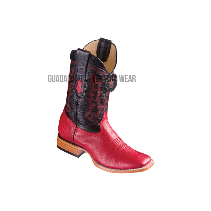 Los Altos Red Ostrich Belly Wide Square Toe Cowboy Boots