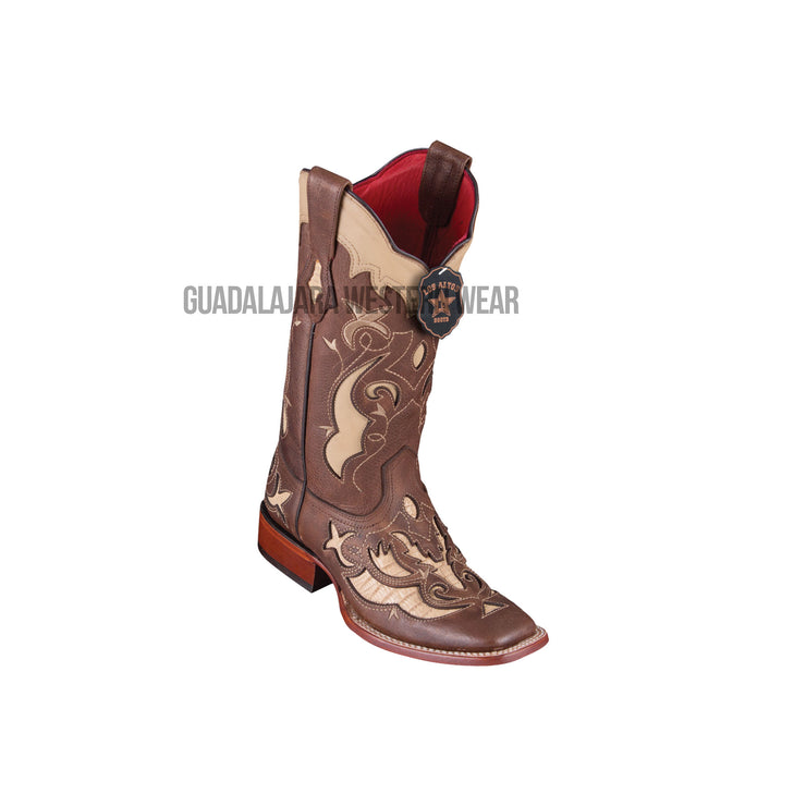 Los Altos Sanded Oryx Teju Wide Square Toe Women Western Boot