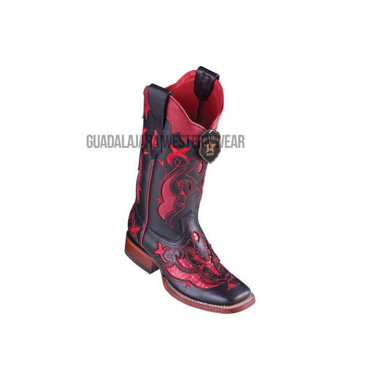 Los Altos Sanded Red Teju Wide Square Toe Women Western Boot