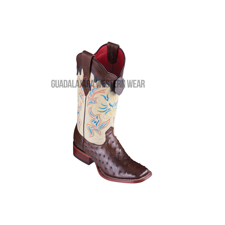 Los Altos Brown Ostrich Wide Square Toe Women Western Boot
