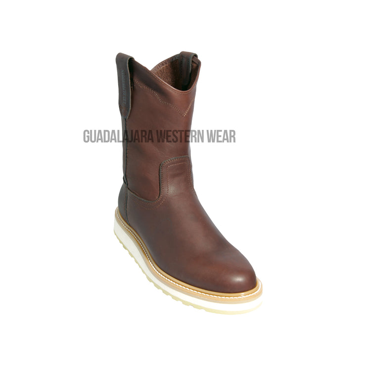 Original Michel Boots Men's Pull On Work Boot Brown Soft Toe