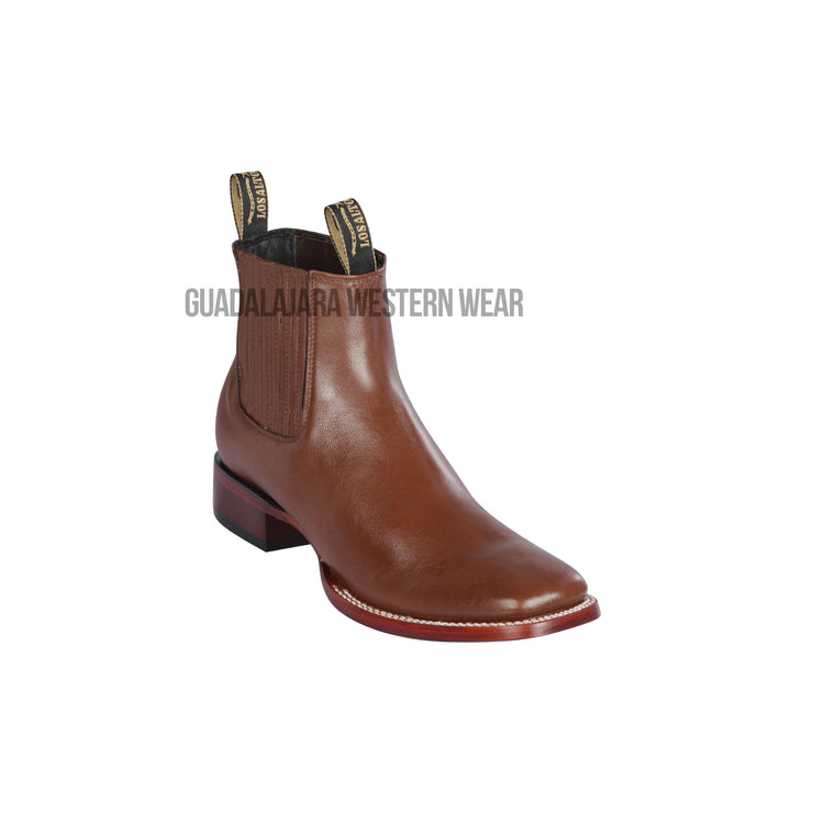 Los Altos Brown Deer Wide Square Toe Botin Charro