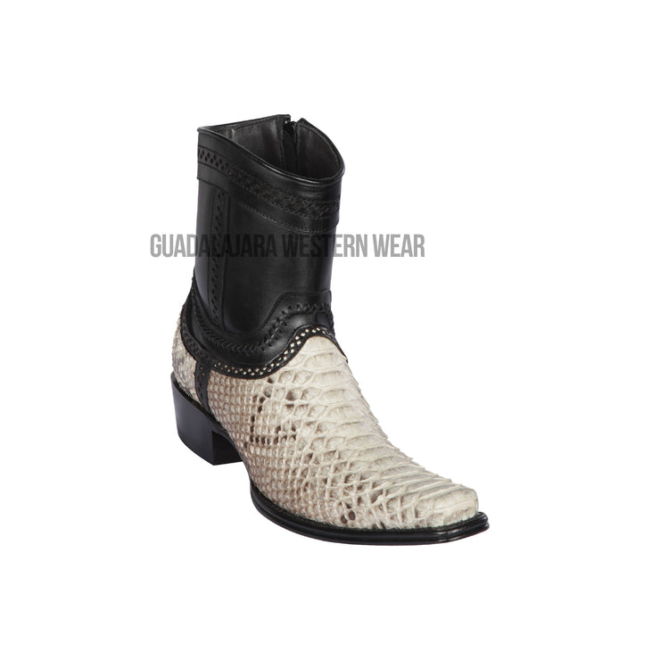 Los Altos Natural Python European Square Toe Ankle Boot