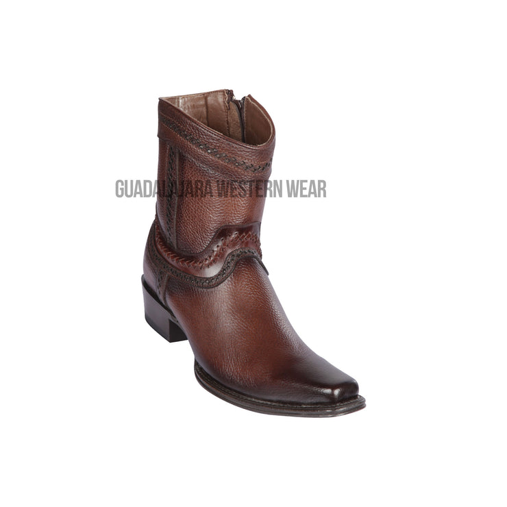 Los Altos Faded Brown Grisly European Square Toe Ankle Boot