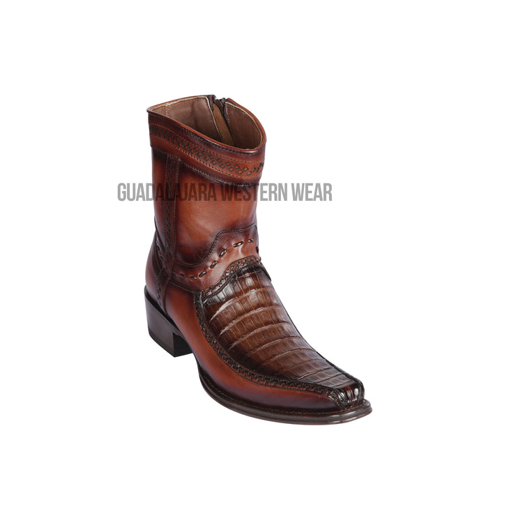 Los Altos Faded Brown Caiman Belly & Deer European Square Toe Ankle Boot