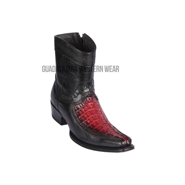 Los Altos Faded Burgundy Caiman Tail & Deer European Square Toe Ankle Boot