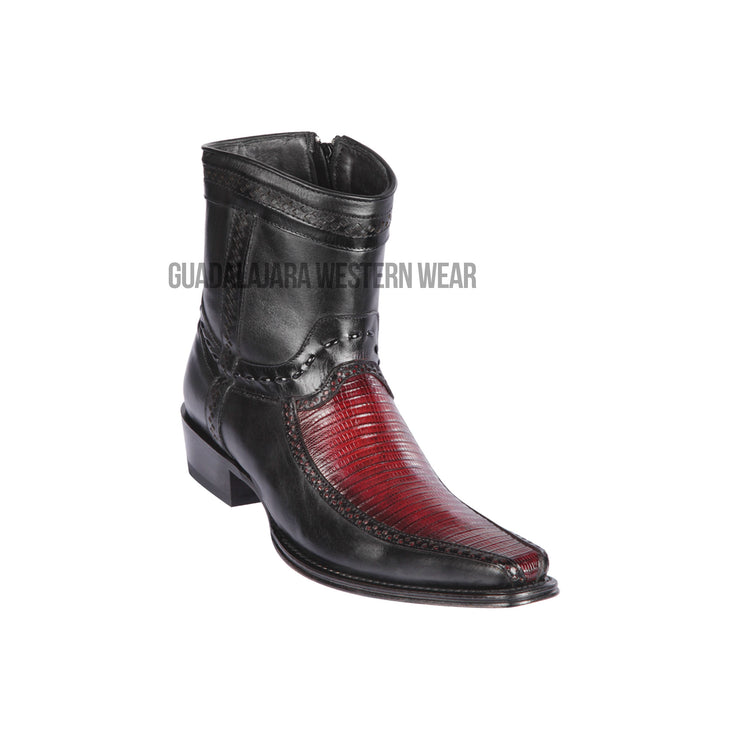 Los Altos Faded Burgundy Teju & Deer European Square Toe Ankle Boot