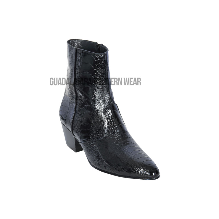 Los Altos Black Ostrich Leg Round Toe Ankle Boot