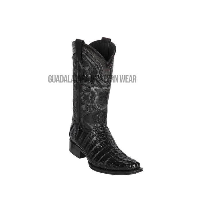 Los Altos Black Caiman Tail European Square Toe Cowboy Boots