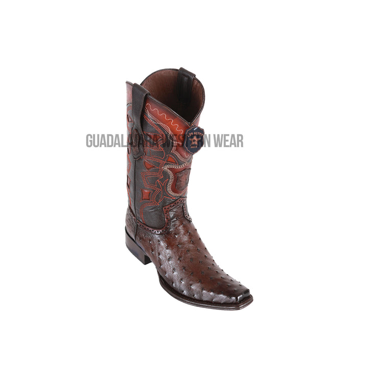 Los Altos Faded Brown Ostrich European Square Toe Cowboy Boots