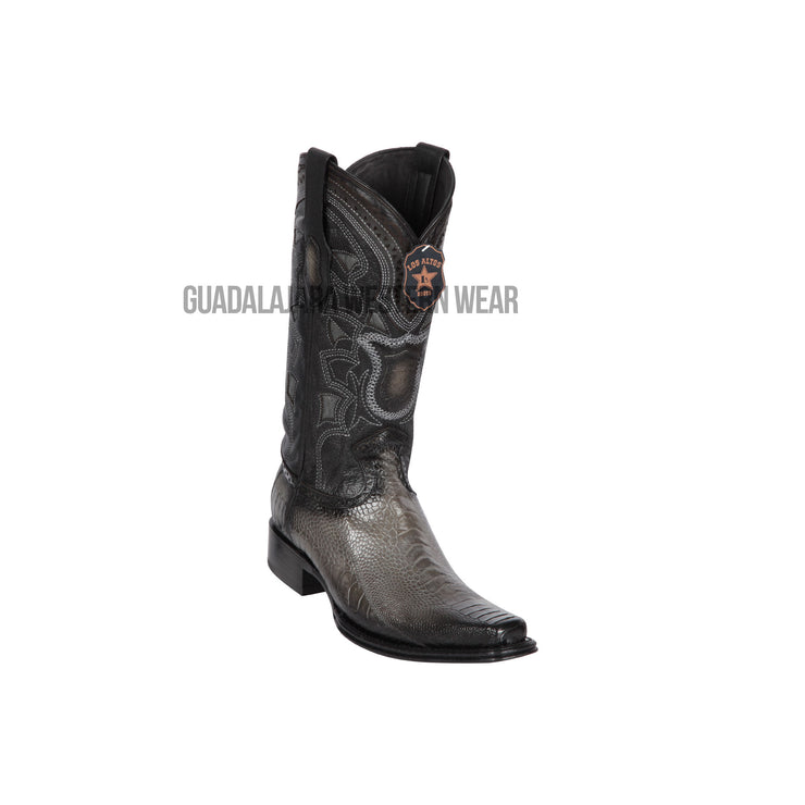 Los Altos Faded Gray Ostrich Leg European Square Toe Cowboy Boots