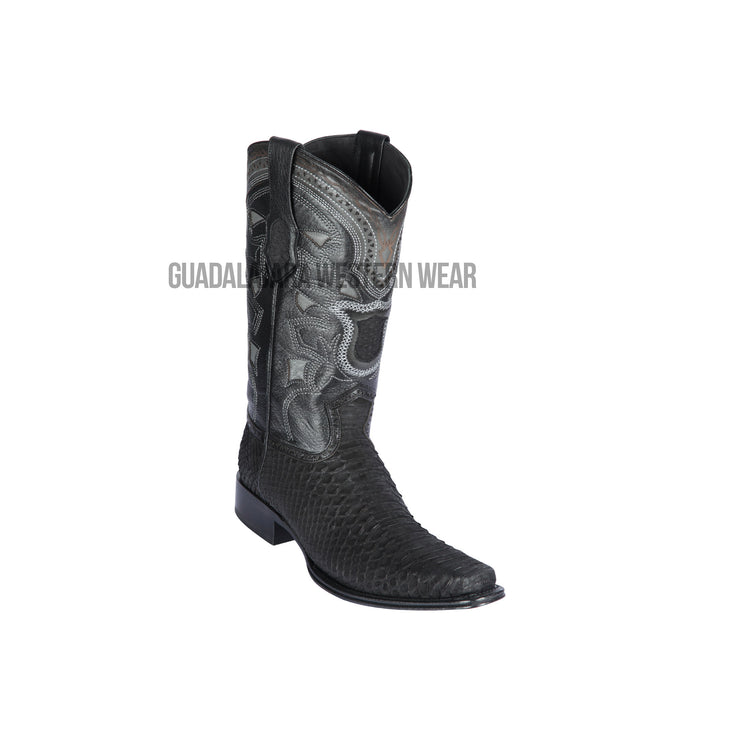 Los Altos Suede Black Python European Square Toe Cowboy Boots