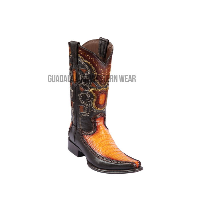 Los Altos Faded Buttercup Caiman Belly & Deer European Square Toe Cowboy Boots