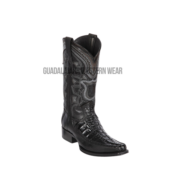 Los Altos Black Caiman Tail & Deer European Square Toe Cowboy Boots