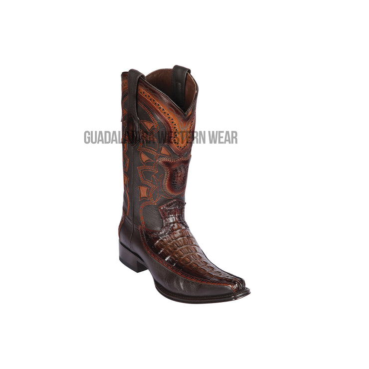 Los Altos Faded Brown Caiman Tail & Deer European Square Toe Cowboy Boots