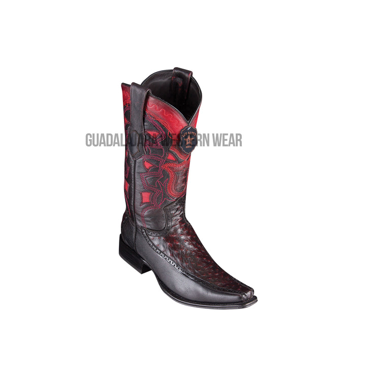 Los Altos Black Cherry Ostrich & Deer European Square Toe Cowboy Boots