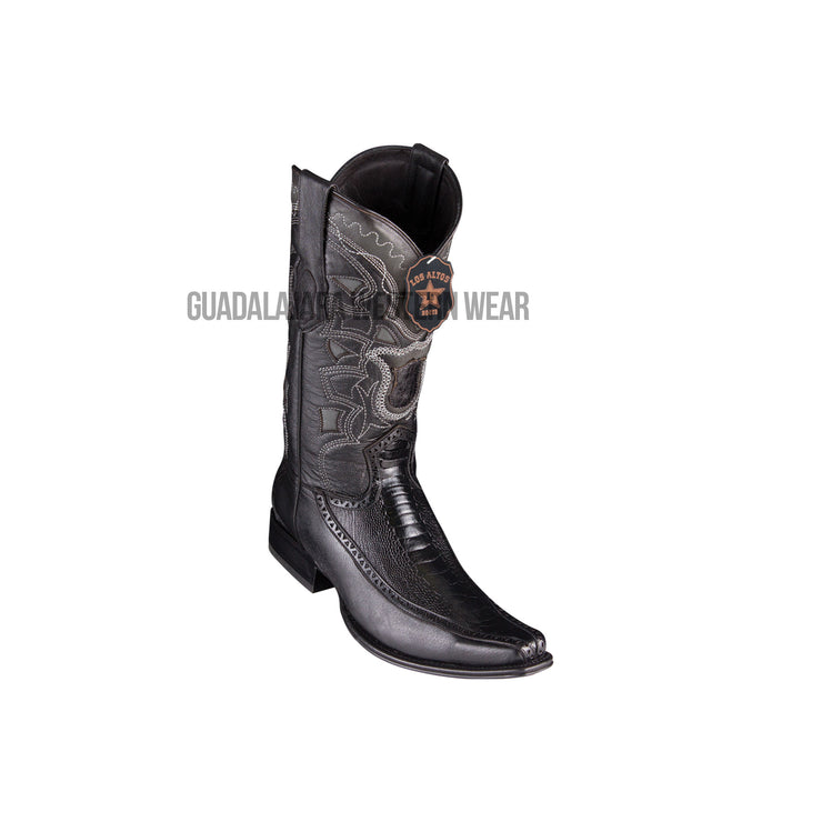 Los Altos Black Ostrich Leg & Deer European Square Toe Cowboy Boots