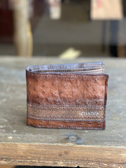 Cuadra Flame Brown Full Quill Ostrich Leather Wallet