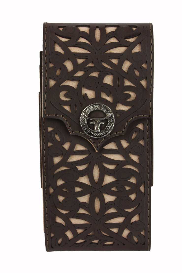 Leather Tooled Cell Phone Case Toro