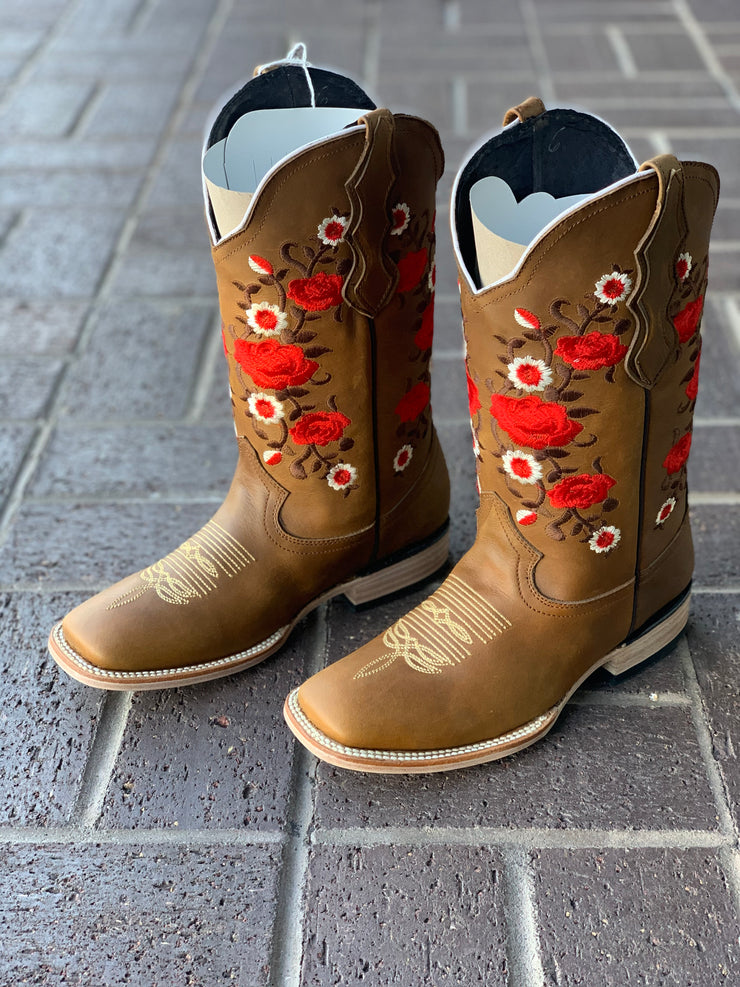 White Diamond Topo Crazy Square Toe Women Boot