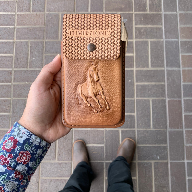 Tombstone Leather Tooled Light Brown Horse Cell Phone Case