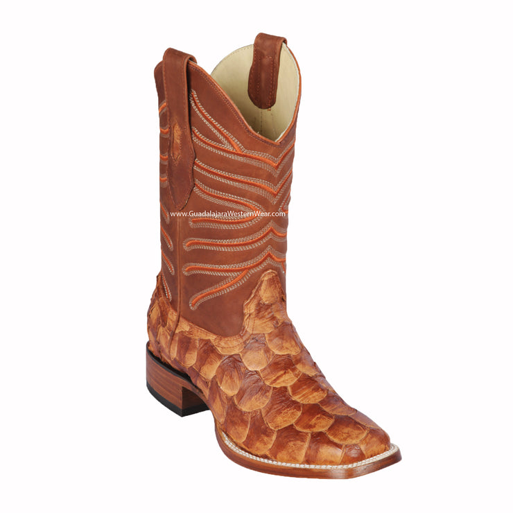 Los Altos Cognac Matte Piraruccu Wide Square Toe Cowboy Boots