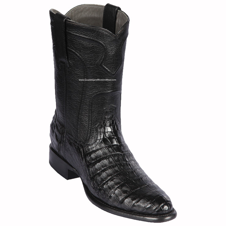 Los Altos Black Caiman Belly Roper Cowboy Boots
