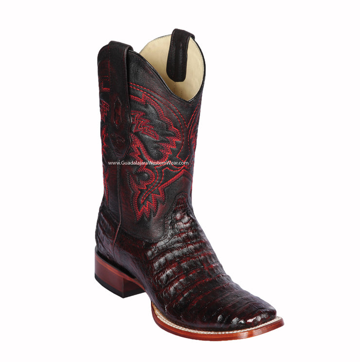 Los Altos Black Cherry Caiman Belly Wide Square Toe Cowboy Boots