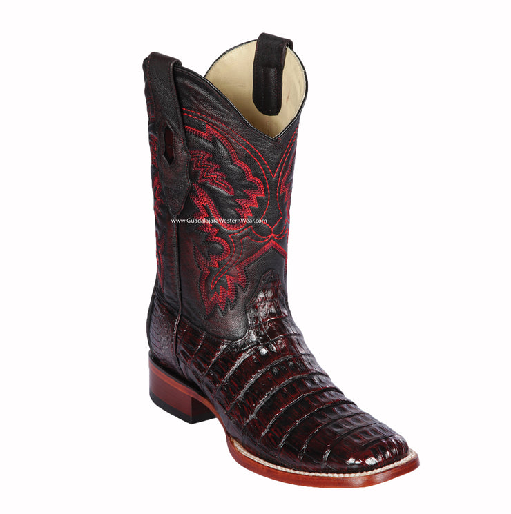 Los Altos Black Cherry Pieced Vamp Caiman Belly Wide Square Toe Cowboy Boots