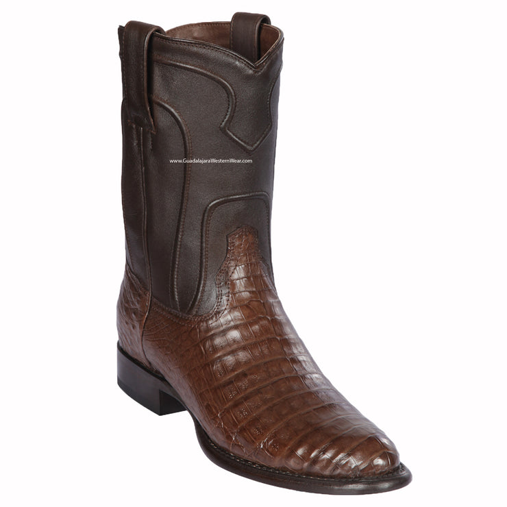 Los Altos Brown Caiman Belly Roper Cowboy Boots