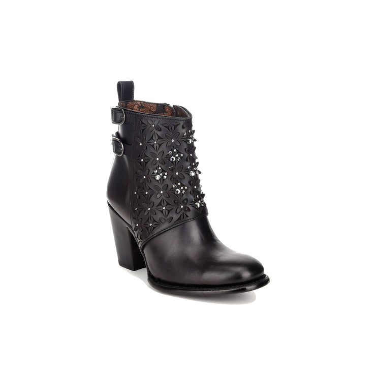 Cuadra Black Bovine Leather Laser Floral Cut Ankle Boot