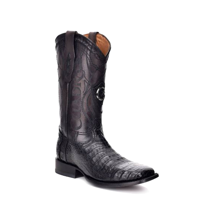 Cuadra Black Caiman Belly Wide Square Toe Cowboy Boot