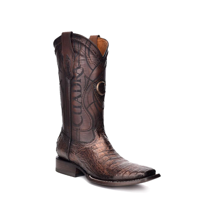 Cuadra Paris Cafe Caiman Belly Wide Square Toe Cowboy Boot