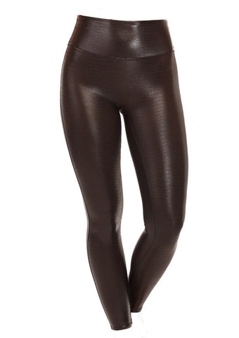 Spanx Faux Leather Croc Shine Leggings Brown/Black - Gabrielle's Biloxi