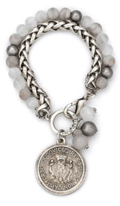 French Kande Double Stranded Chain And Linen Mix With Expo Medallion - Gabrielle's Biloxi