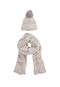 Barefoot Dreams CozyChic Pom Pom Beanie & Scarf Set Beach Rock Almond