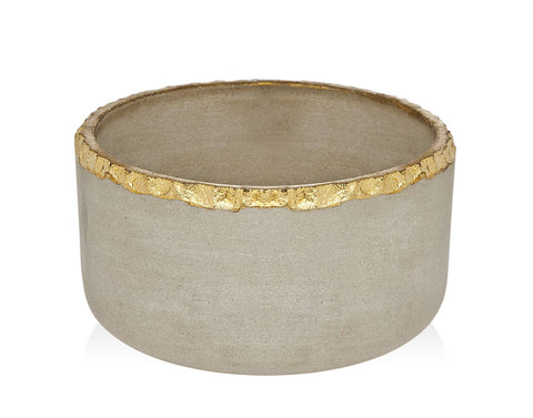 Stone Large Bowl With Gold Edge - Gabrielle's Biloxi
