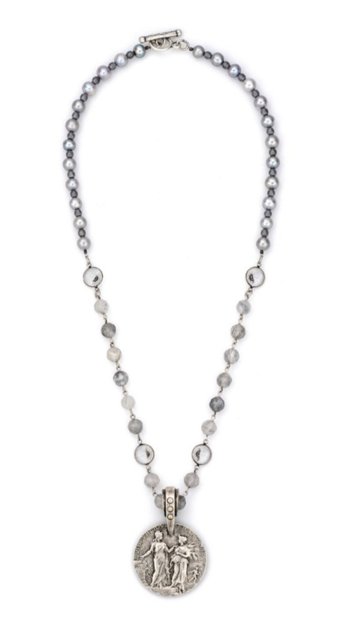 French Kande Faceted Cloudy Necklace With Republique Medallion - Gabrielle's Biloxi