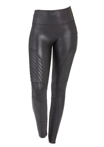 SPANX  Faux Leather Moto Leggings Very Black - Gabrielle's Biloxi