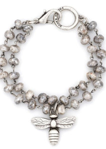 French Kande Double Stranded Silverite Bracelet With Miel Pendant - Gabrielle's Biloxi