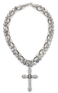 French Kande Double Strand Faceted Silverite Necklace With FDL Channel Cross - Gabrielle's Biloxi