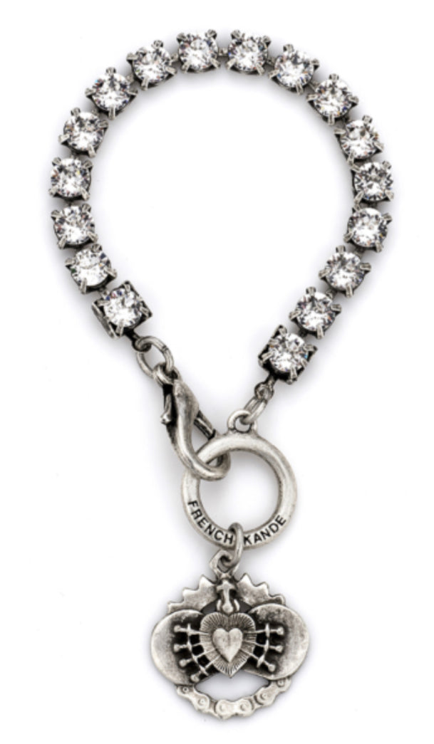 French Kande Swarovski With Immaculate Heart Pendant Bracelet - Gabrielle's Biloxi