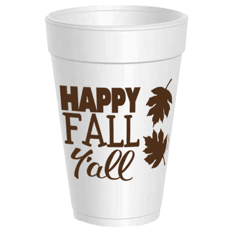 Happy Fall Y'all Styrofoam Cups