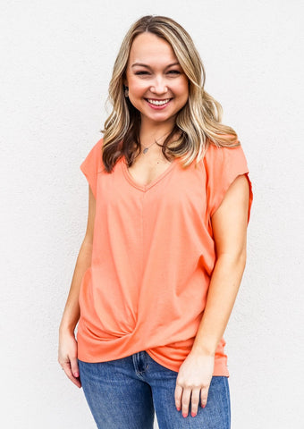 Bobi Front Twist V-Neck Top Guava